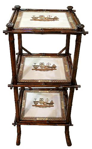 A 19th Century Italian Bamboo and Porcelain Three-Tiered Side Table No. 4049