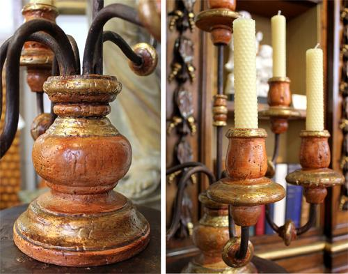 A Set of Eight Tuscan Polychrome, Giltwood and Wrought Iron Girandoles No. 4037