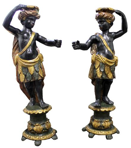 A Pair of 18th Century Polychrome and Giltwood Venetian Blackamoor Torchères No. 4031