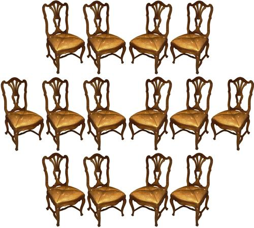 A Rare Set of Fourteen 18th Century Italian Louis XV Walnut Side Chairs No. 3056