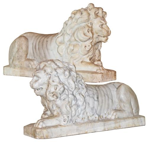 A Pair of 18th Century Carrara Marble Lions in Repose No. 2130