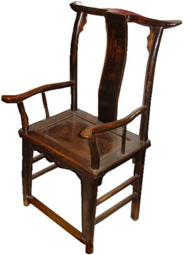 An 18th Century Bois Noirci High Back Official Hat Chinese Arm Chair No. 3463