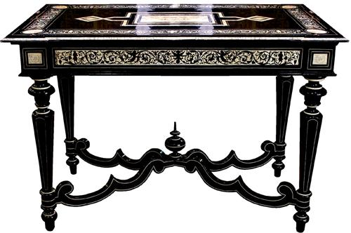 A 19th Century Florentine Ebony and Inlaid Bone Salon Table 4174