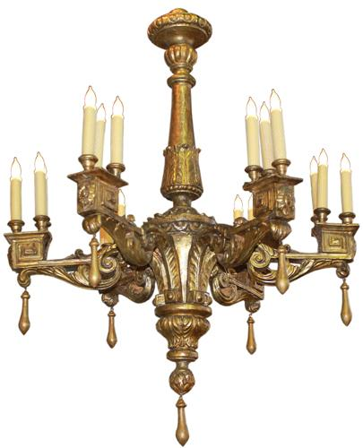 An Unusual 18th Century Italian Mecca Giltwood Louis XVI Neoclassical Chandelier No. 4192