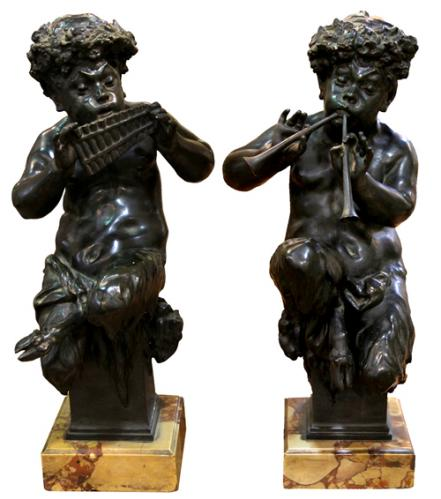 A Pair of 19th Century Italian Bronze Bacchanalian Putti No. 4188