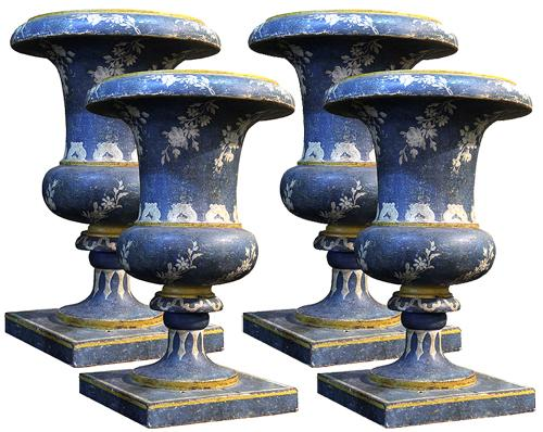 A Set of Four 19th Century Polychromed Wood Urns No. 4170
