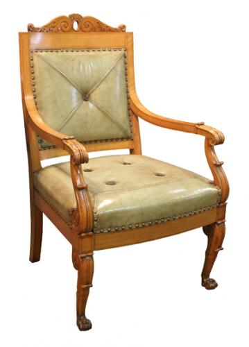 A Set of Ten French Charles X Beechwood Armchairs No. 4184