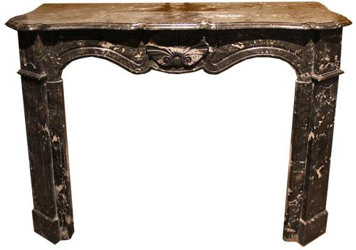 A 19th Century French Louis XV Style Black Marble Fireplace Mantel No. 613