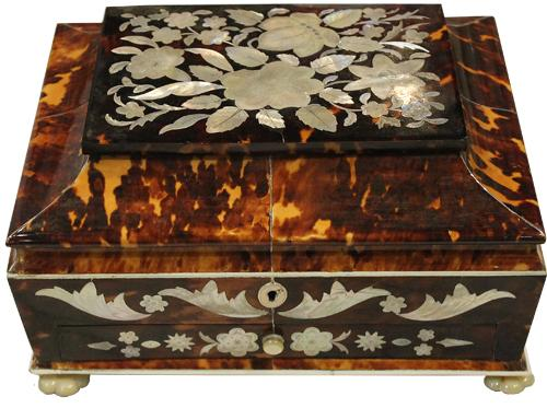 An English Regency 19th Century Tortoiseshell, Bone, Mother-of-Pearl, Abalone, and 925 Sterling Silver Sewing Box No. 4212