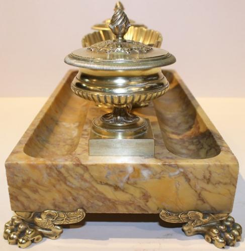 A 19th c. Italian Siena Marble and Brass Inkstand No. 4247