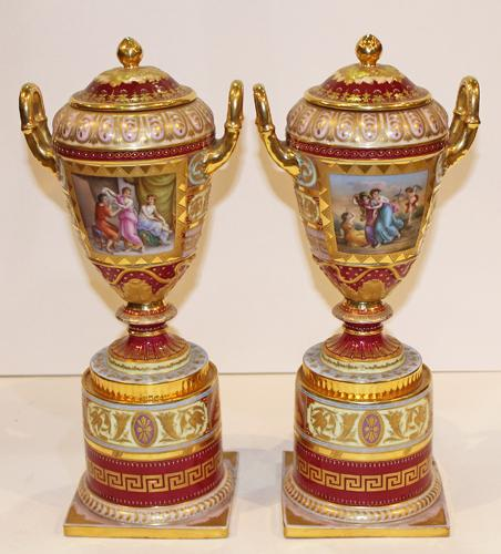 A 19th c. Pair of Hand-Painted Royal Vienna Porcelain Lidded Urns No. 3777