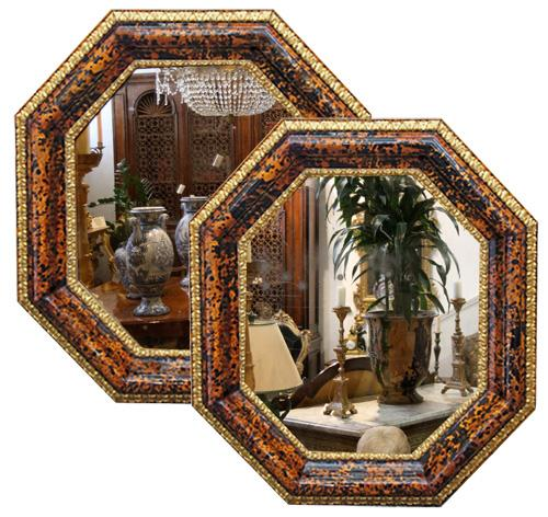 A Rare Pair of 18th c. Octagonal Italian Transitional Baroque to Rococo Tortoiseshell Mirrors No. 4292