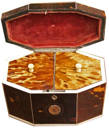 A Late 18th-Early 19th Century English Bone-Inlaid Tortoiseshell Tea Caddy No. 4215