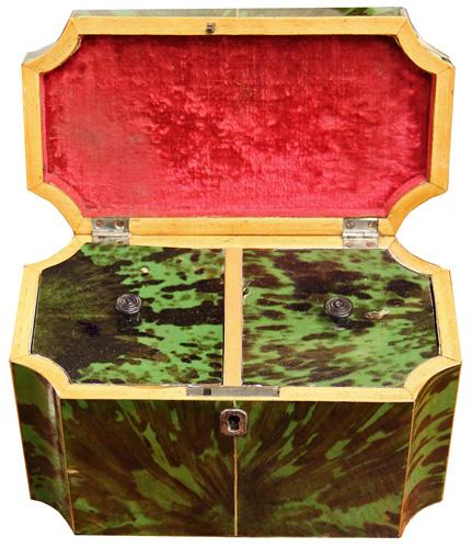 An Early 19th Century English Green Tortoiseshell Double Tea Caddy No. 4217