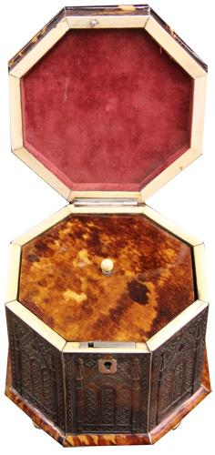 An Early 19th Century Rare English Gothic-Motif Pressed Tortoiseshell Tea Caddy No. 4218