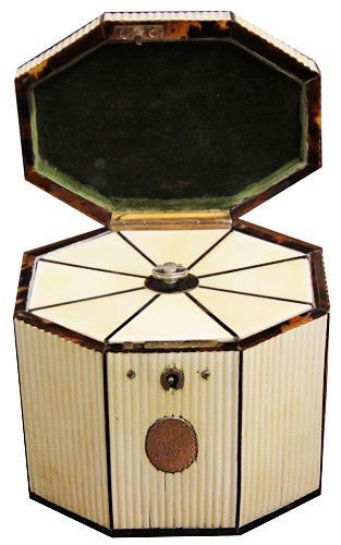 A Late 18th Century Octagonal Ridged Bone Tented Top Tea Caddy No. 4224