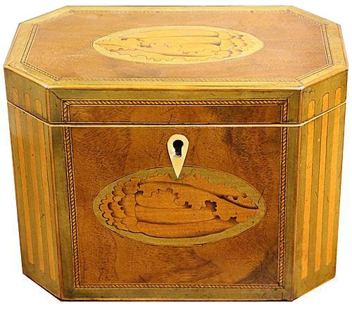 A Late 18th Century English Mahogany Inlaid Wood Tea Caddy No. 4234
