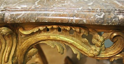 An 18th Century French Louis XV Giltwood and Breccia Marble Console No. 4312