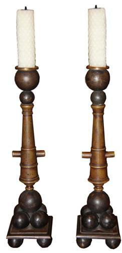 "An Unusual Pair of French Bronze and Brass ""Canon"" Candlesticks No. 4319"