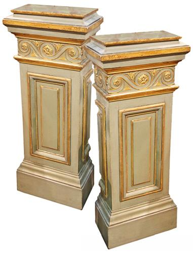 A Pair of 18th Century Italian Louis XVI Parcel Giltwood and Polychrome Pedestals No. 4331