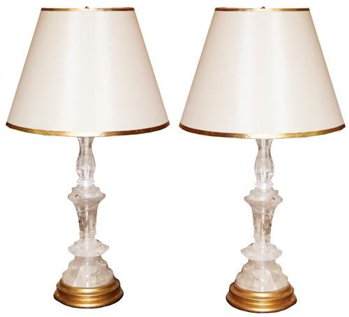 A Pair of Rock Crystal Candlesticks Now Converted into Table Lamps No. 4298