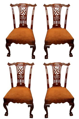 A Set of Four 18th century Mahogany Chippendale Chairs No. 1955
