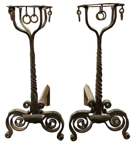 A Magnificent Pair of 18th Century French Chateau Hand Wrought Iron Andirons (Chenets) 4437