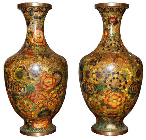 A Pair of Vintage Chinese Enamel and Copper Cloisonné Vases No. 4385