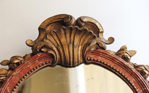 An 18th Century Italian Polychrome and Parcel Gilt Mirror No. 4424