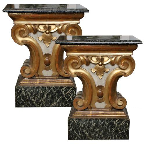 A Pair of 19th Century Italian Marble Topped Polychrome and Parcel Gilt Pedestals No. 4427