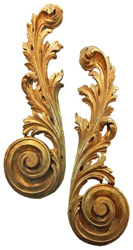 A Pair of 18th Century Italian Giltwood Wall Appliqués 4438