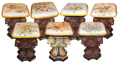 A Set of Seven 19th Century Hand Painted Florentine Glazed Terra Cotta Stools No. 4445
