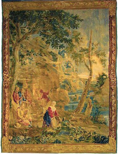 A 17th Century French Tapestry of Villagers by a Stream No. 2137