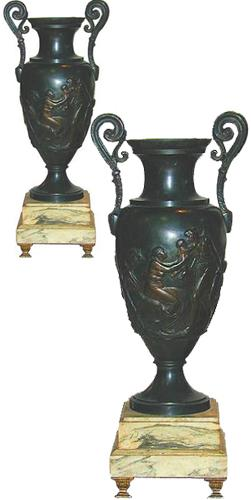 A Pair of 19th Century French Empire Bronze Urns with Scrolled Handles No. 2229