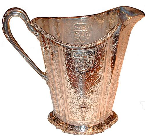 A 19th Century English Silver Plated Water Pitcher No. 2491