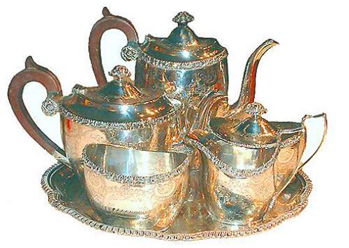 A 19th Century English Six-Piece Silvered Tea Set No. 2490