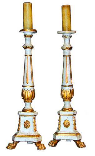 An 18th Century Pair of Italian White Polychrome and Parcel-Gilt Large Candlesticks No. 1048