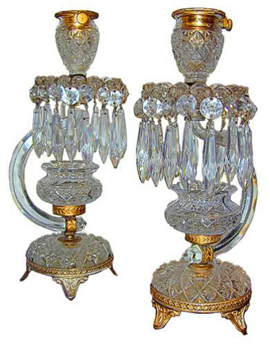 A Pair English Regency of 19th Century Cut-Crystal and Bronze Dore Candlesticks No. 86