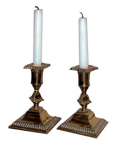An Elegant Pair of English Brass Candlesticks No. 83
