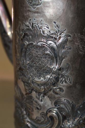 A 19th Century English Repoussé Silvered Coffee Pot No. 2427