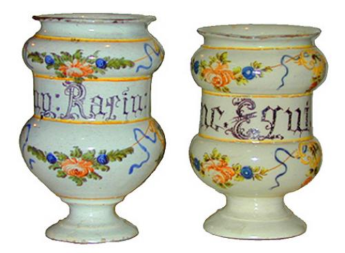 A Harlequin Pair of 18th Century Majolica Albarelli Parlante No. 2213
