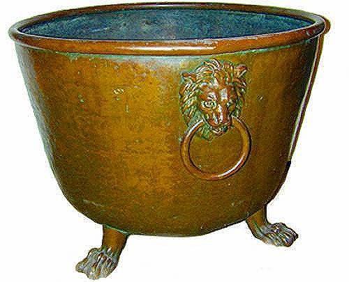 A Palazzo-Scaled 17th Century Italian Copper Cauldron/Jardinière No. 2126