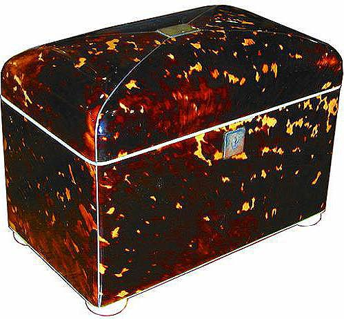 A 19th Century English Regency Tortoiseshell Tea Caddy No. 2082