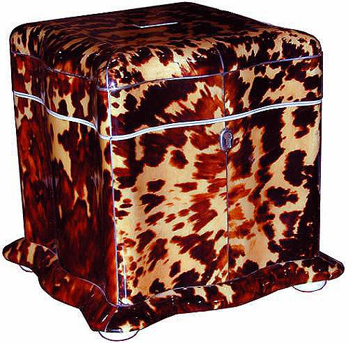 A Rare English Serpentine Tortoiseshell Tea Caddy No. 2057