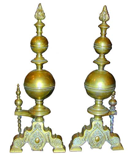 A Pair of 19th Century French Brass Andirons No. 1961