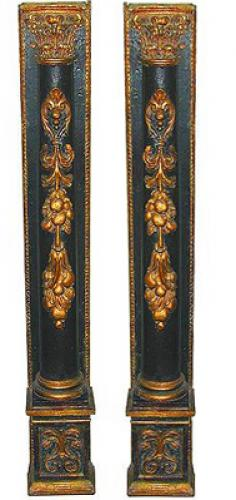 A Pair of 18th Century Italian Carved Polychrome and Parcel Giltwood Pilasters No. 1924