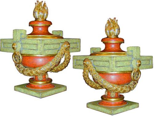 A Pair of Italian Neoclassical Polychrome and Parcel Gilt Urns No. 1801