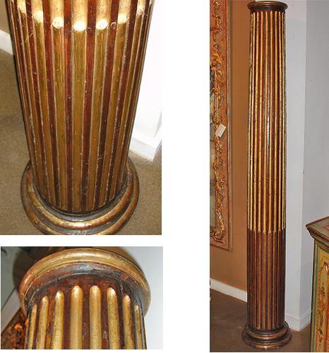 A Fine Pair of Early 17th Century Tuscan Gilt Columns with Stop Fluted Carving on Round Bases No. 1758