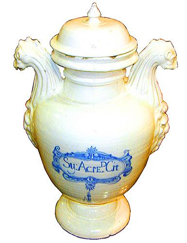 An Italian 16th Century Baluster-form Lidded White Porcelain Apothecary Jar No. 1564