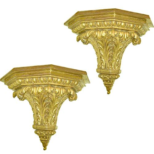 A Pair of 19th Century Italian Giltwood Sconces No. 403